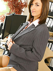 Office Babe, Melanies perfect figure is flattered by the sexy lingerie under her suit skirt and blouse
