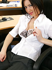 This office girl is a real beauty in her grey suit and sexy lingerie beneath