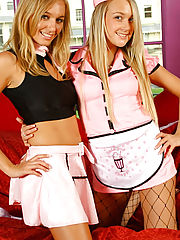 Doctor Sex, Hayley-Marie & Lucy-Anne are 'pretty in pink' in these cute outfits over their cotton panties