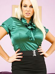 Gorgeous office girl Dannii H gets ready for bed but not before removing her silky blouse and suit skirt