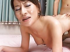 Rei Kitajima fucked by her students after they make her cum