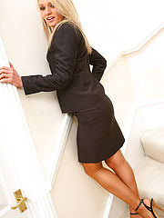 Gorgeous Emma Claire in ther lovely secretary suit with pantyhose on