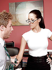 Big Tits at Work, Kortney Kane enjoys her lunch break at work by having her co-worker lick her pussy.