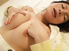 Rin plays with her tits while fucked by a horny student