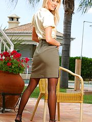 Naughty Office, Beautiful blonde Maria seductively strips from her sexy secretary outfit