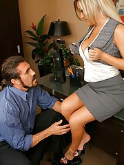 Officesex, 12 pics and 1 movie of Megan from Big Tits Boss