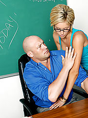 Office Hardcore, Victoria White sucks and fucks her professor so she can pass his class.