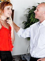 Hardcore Office, Dylan Ryan's boss is trying to coerce her into joining the basketball team by eating her pussy.